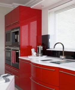 Bold Color Red Cabinet For Kitchen